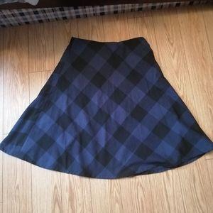 Checkered blue full skirt